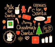 Merry Christmas Set cute. Vector gold hand drawing holiday elements isolated on black background. Cookies and Milk for Santa. Merry Christmas Set cute mini stock illustration