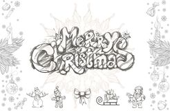 Merry Christmas set of decorative design elements. Merry Christmas. Hand drawn inscription and decorative design elements for greeting cards, posters and other Royalty Free Stock Photo