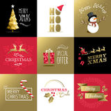 Merry christmas set gold card label xmas holiday Stock Images