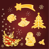 Merry Christmas  set of gold decoration  vector Stock Images