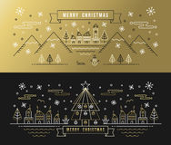 Merry christmas set gold outline tree xmas holiday Stock Photos