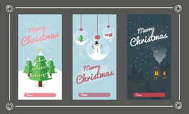 Christmas Greeting Card Set. Merry Christmas Text Greeting Card Collections with Christmas Elements. Vector illustration stock photo