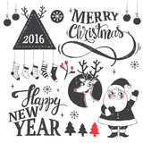 Merry Christmas set. Hipster New Year and Merry Christmas set with dear, santa, tree, snowflake, etc. Vector illustration Royalty Free Stock Photo