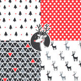 Merry Christmas set. Set of Christmas hipster seamless vector patterns Royalty Free Stock Photo