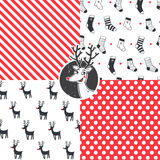Merry Christmas set. Set of Christmas hipster seamless vector patterns Stock Photography