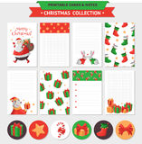Merry Christmas set. Merry Christmas illustration. Vector printable cards, notes and stickers with Santa, gifts, polar bear and etc Stock Images
