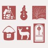 Merry Christmas. Set of illustrations on a Christmas theme Stock Photography