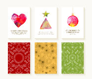 Merry christmas set pattern ornament greeting card Royalty Free Stock Image