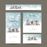 Merry christmas, set postcards with cityscape Royalty Free Stock Images