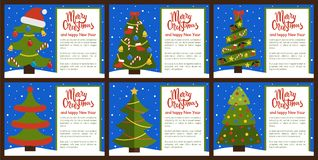 Merry Christmas Postcards Set Vector Illustration. Merry Christmas set of postcards with headings and text sample, trees decorated with balls and bells, stars royalty free illustration