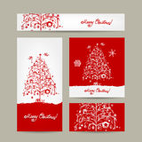 Merry christmas, set of postcards with winter tree Stock Photo