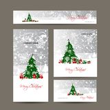 Merry christmas, set of postcards with winter tree Royalty Free Stock Photo