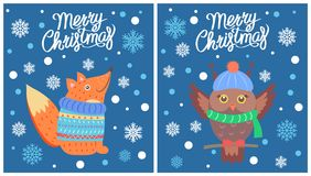 Merry Christmas Set of Posters Vector Illustration. Merry Christmas set of posters with animals on them, own in scarf and fox in sweater, images with snowflakes Royalty Free Stock Photo