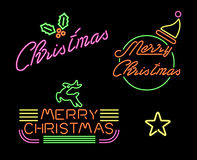 Merry christmas set retro neon light sign label Stock Image