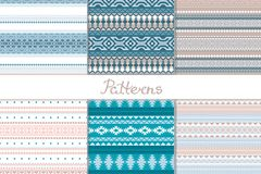 Merry Christmas. Set seamless pattern with a winter theme in ethno style. Geometric shapes, triangle, square, rhombus. Tribal motifs Scandinavian, Indian stock illustration