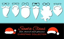 Merry Christmas. Set of various Santa hats, moustache, beards and eyeglasses isolated on blue background. Royalty Free Stock Images