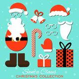 Merry Christmas. Set of various Santa hats, moustache, beards, gifts, boots, gloves and bells isolated on blue background. Stock Photo