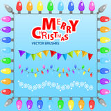 Merry Christmas. Set of vector brushes. Set of vector brushes for design Christmas cards and other printed products. Beautiful boxes and Christmas lanterns Stock Images