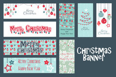 Merry Christmas Set of web banner and cards templates. Collection for greeting, congratulations, invitations Royalty Free Stock Photos