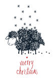 Merry Christmas sheep design card Royalty Free Stock Images