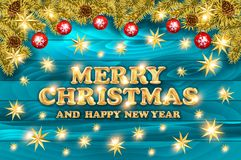 Merry Christmas Shining Background. Elegant New Year Decoration. With Fir Tree Branches, Stars, Gold Garlands and Shining Lights on Blue Background. Vector Royalty Free Stock Image