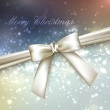 Merry Christmas. shiny holiday background with lights, sparkles, glitters, white bow and ribbon Royalty Free Stock Photos