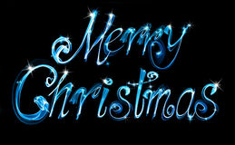 Merry Christmas. Shiny neon handwritten inscription. Blue flames Stock Images