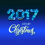 Merry Christmas 2017 sign on blue background with neon figures. Calligraphy text, poster template. Vector Royalty Free Stock Image