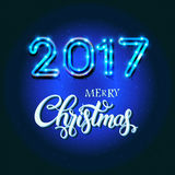 Merry Christmas 2017 sign on blue background with neon figures. Merry  2017 sign on blue background with neon figures. Calligraphy text, poster template. Vector Royalty Free Stock Photo