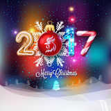 Merry Christmas sign 2017 decoration poster card. Royalty Free Stock Photo