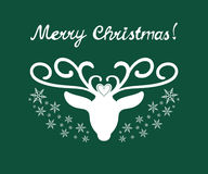 Merry Christmas sign with deer. Merry Christmas hand drawn sign with deer silhouette and snowflakes Stock Images