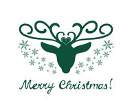 Merry Christmas sign with deer isolated on white background. Merry Christmas hand drawn sign with deer silhouette and snowflakes Royalty Free Stock Images