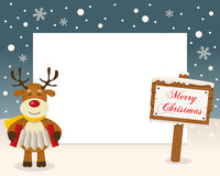 Merry Christmas Sign Frame - Reindeer Stock Photos