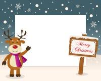 Merry Christmas Sign Frame & Reindeer royalty free stock photos