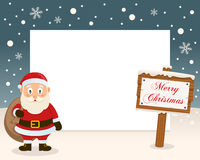 Merry Christmas Sign Frame & Santa Claus royalty free stock photography