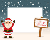 Merry Christmas Sign Frame - Santa Claus Royalty Free Stock Photography