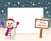Merry Christmas Sign Frame - Snowman Stock Image