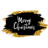 Merry Christmas sign. Hand drawn lettering. Golden glitter shiny and black ink brush stroke background. Merry Christmas sign. Hand drawn lettering. Golden Royalty Free Stock Photos