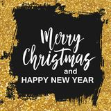 Merry Christmas sign. Hand drawn lettering. Golden glitter shiny and black ink brush stroke background. Universal design for different projects and uses Royalty Free Stock Image