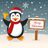 Merry Christmas Sign - Happy Penguin Royalty Free Stock Photography