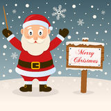 Merry Christmas Sign - Happy Santa Claus Royalty Free Stock Photos