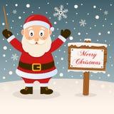Merry Christmas Sign - Happy Santa Claus royalty free stock photos