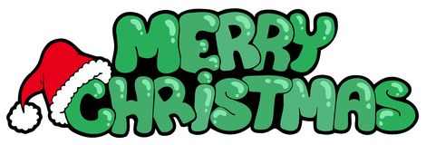 Merry Christmas sign with hat Stock Image