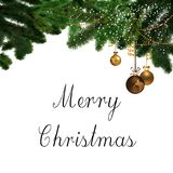 Merry Christmas ornaments and Sign Royalty Free Stock Photography