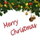 Merry Christmas ornaments and Sign Stock Image