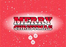 Merry Christmas sign. Red Merry Christmas sign with snowflakes and baubles vector illustration