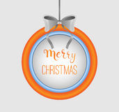 Merry christmas sign in round frame with silver bow. Calligraphy element. Modern colors. Merry christmas sign in round frame with calligraphy Royalty Free Stock Photo