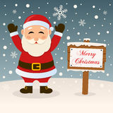Merry Christmas Sign with Santa Claus Royalty Free Stock Images
