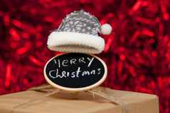 Merry Christmas sign on sparkling background Stock Image