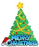 Merry Christmas sign with tree. Illustration Royalty Free Stock Photo